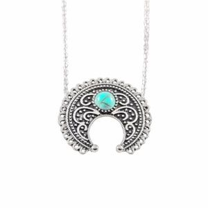 Jewelry - Boho Crescent Moon Turquoise Silver Necklace B6